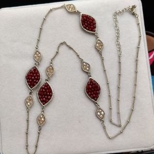"28"" garnet and champagne crystal necklace"